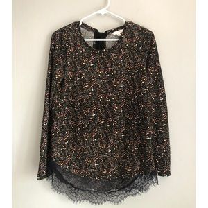 LC Lauren Conrad Lightweight Floral Sweater w Lace
